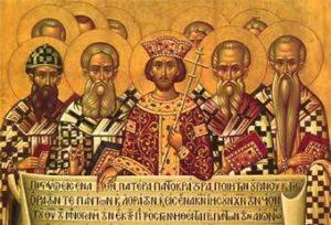Costantino e padri conciliari al Concilio di Nicea del 325 (Icona russa)