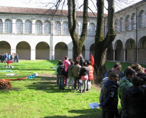 Piccoli gruppi di bambini che parlano con un rappresentante religioso